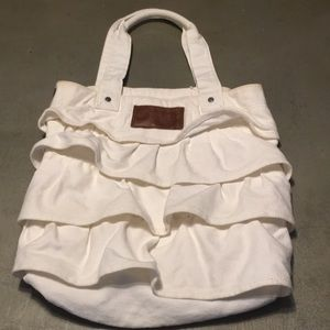Abercrombie and Fitch White Denim Ruffed Bag